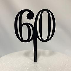 Number 60 Black Acrylic Cake Topper