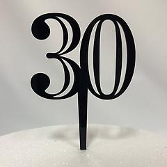 Number 30 Black Acrylic Cake Topper
