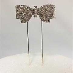 Bow Silver Diamante Metal Cake Topper