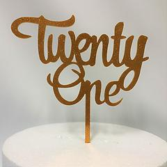 Twenty One Glitter Gold Acrylic Cake Topper