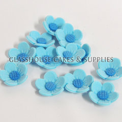 Blue 2cm Simple Icing Flowers