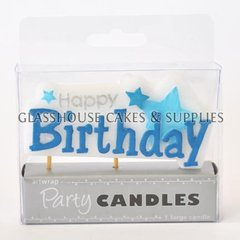 Blue Happy Birthday & Stars Candle