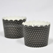 25 Black Cupcake Cases with Tiny White Spots