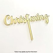 CHRISTENING (Gold Mirror) - Cake Topper