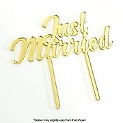 JUST MARRIED (Gold Mirror) - Cake Topper