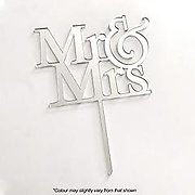 MR & MRS (Silver Mirror) - Cake Topper