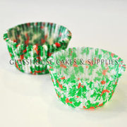 Green Holly Christmas Cupcake Cases