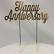 Gold Mirror Happy Anniversary Metal Cake Topper