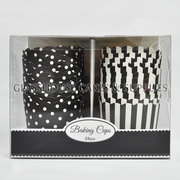Striped & Polka Dot Card Cupcake Cups - Black - Large