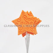 6 Icing Stars on Wires - Peachy Orange