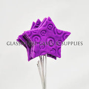 6 Icing Stars on Wires - Purple