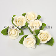6 Small White Roses with Leaves