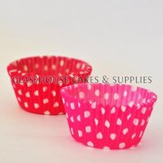 50 dark pink/white Polka Dot Patty Cups