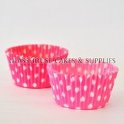 50 pink/white Polka Dot Patty Cups