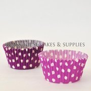 50 purple/white Polka Dot Patty Cups