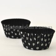 50 black/silver Polka Dot Patty Cups