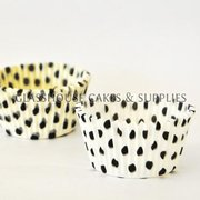 50 white/black Polka Dot Patty Cups