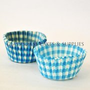 50 Blue Checkered Patty Cups