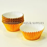 50 Mini Metallic Gold Patty Cups
