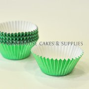 50 Mini Metallic Green Patty Cups