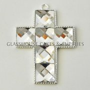 Large Diamante Cross - White