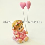 Pink Ceramic Baby with Balloons
