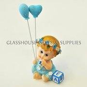 Blue Ceramic Baby with Balloons