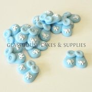 Tiny Blue Fondant Baby Shoes