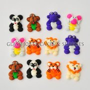 12 Mini Animals Fondant Toppers