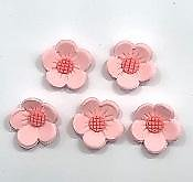 Pink Flowers Edible Toppers - 12 pack