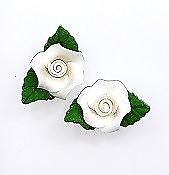 Small White Roses with Leaves Edible Toppers - 6 pack