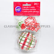 Wilton Red/Green Chequered Christmas Patty Cups with Picks
